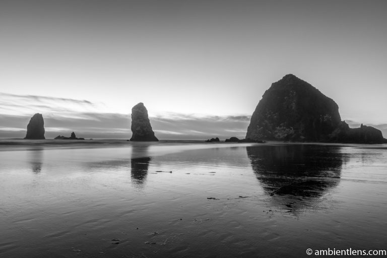 Haystack Rock and The Needles at Sunset (BW)