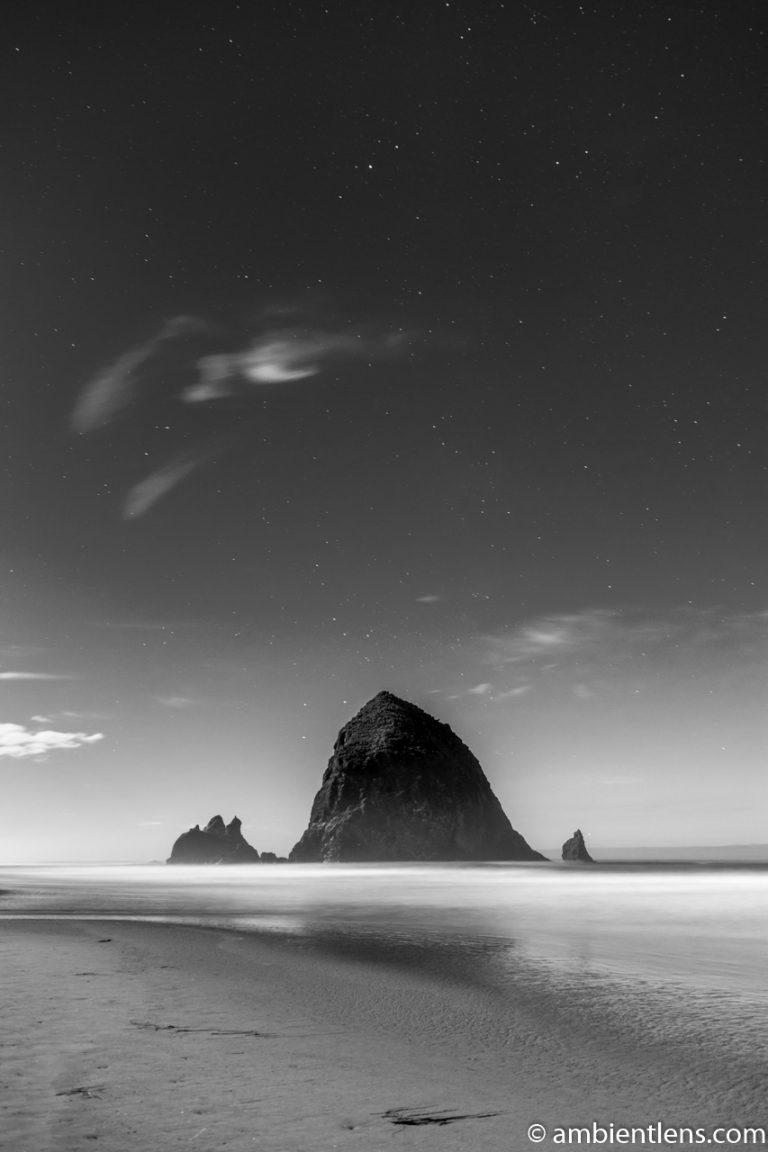 Haystack Rock Under the Stars 1 (BW)