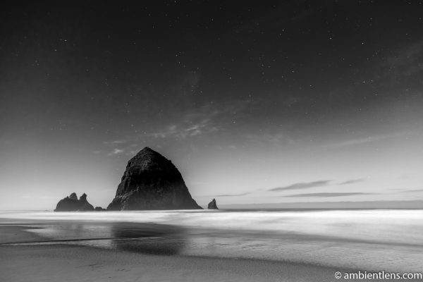 Haystack Rock Under the Stars 2 (BW)