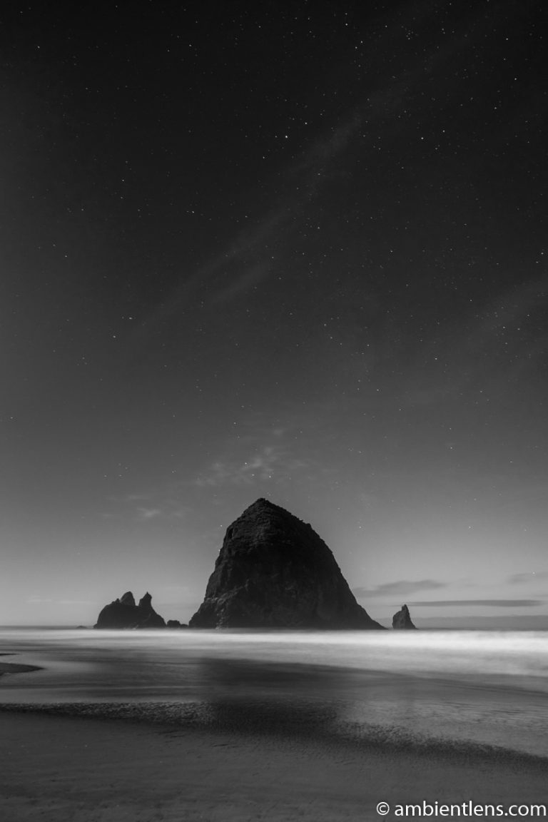 Haystack Rock Under the Stars 3 (BW)