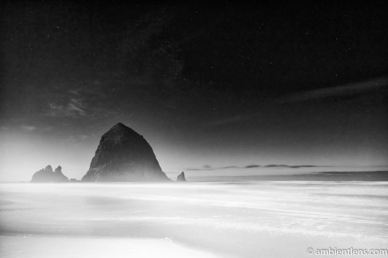 Haystack Rock Under the Stars 4 (BW)