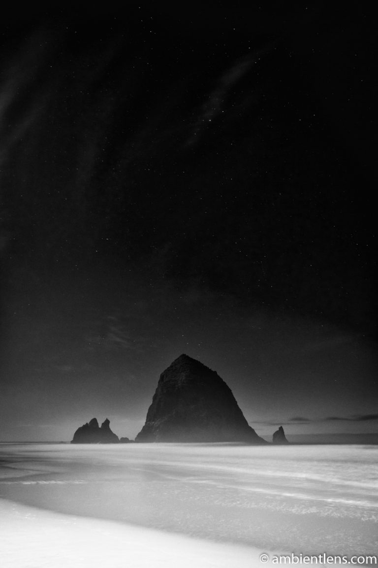 Haystack Rock Under the Stars 5 (BW)